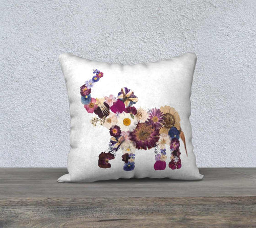 Maroon Baby Elephant Floral Pillow Cover