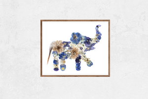 Playful Baby Elephant Floral Art Print