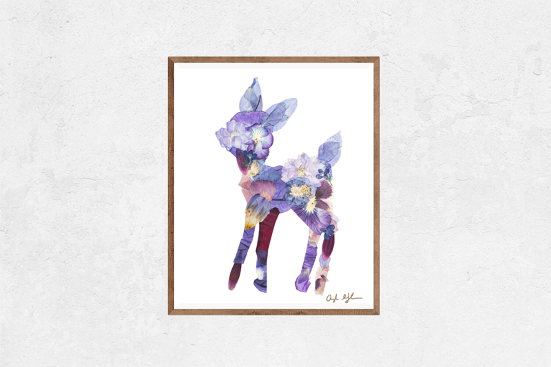 Purple Fawn Floral Nature Art Print