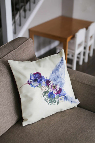 Floral Hummingbird Pillow Cover