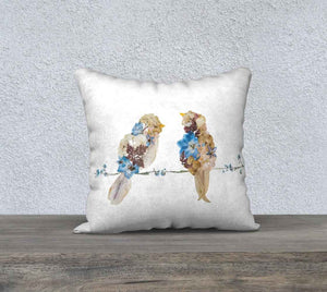 Blue and Beige Lovebirds Pillow Cover