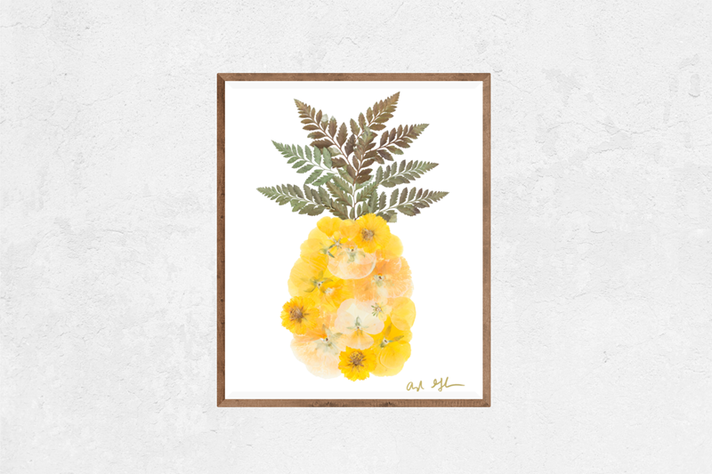 Floral Pineapple Nature Art Print