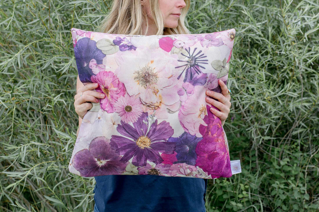 Vibrant Pink and Purple Floral Pillow Cover