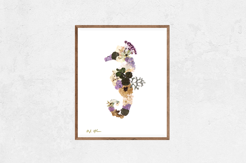 Floral Purple Seahorse Nature Art Print