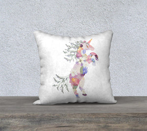 Unicorn Floral Pillow Cover