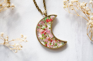 Pressed Flower Celestial Moon Necklace in Greens and Pinks