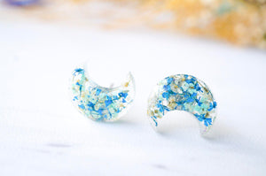 Pressed Flowers Moon Stud Earrings in Blue