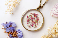 Load image into Gallery viewer, Pressed Flowers in Resin, Circle Necklace in Pink Purple Mint Gold Flakes