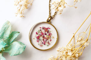 Pressed Flowers in Resin, Circle Necklace in Pink Purple Mint Gold Flakes
