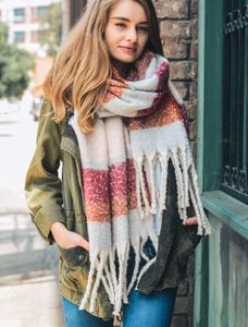 Super Soft Oversized Striped Tassel Scarf