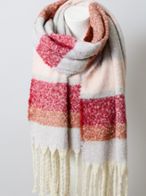 Load image into Gallery viewer, Super Soft Oversized Striped Tassel Scarf