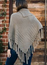 Load image into Gallery viewer, Mocha Knit Tassel Poncho with Buttons