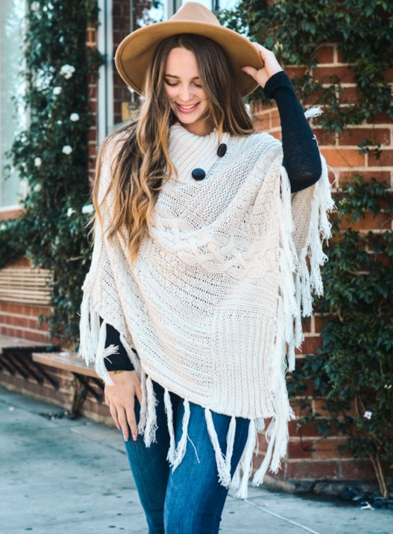 Ivory Knit Poncho with Tassels and Buttons