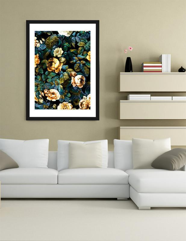 Night Rose Art Print with Frame