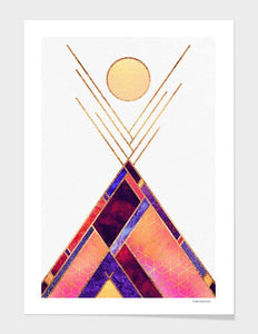 Tipi Mountain Full Moon Print with Frame