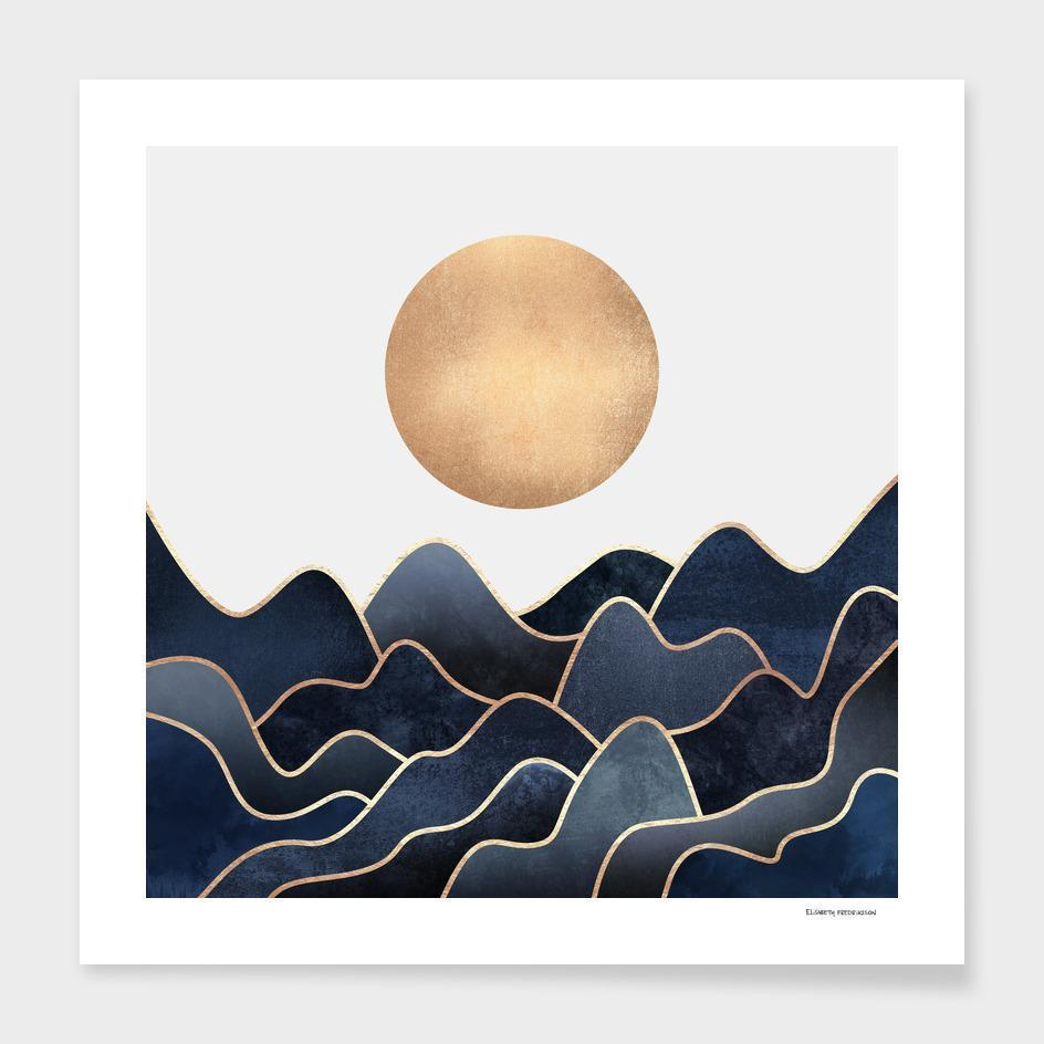 Full Moon over the Ocean Art Print with Frame