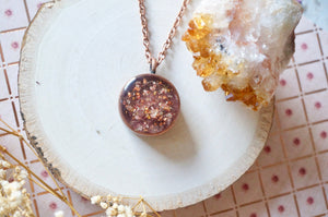 Rose Gold Pressed Flowers in Circle Necklace