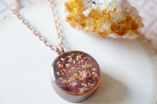 Load image into Gallery viewer, Rose Gold Pressed Flowers in Circle Necklace