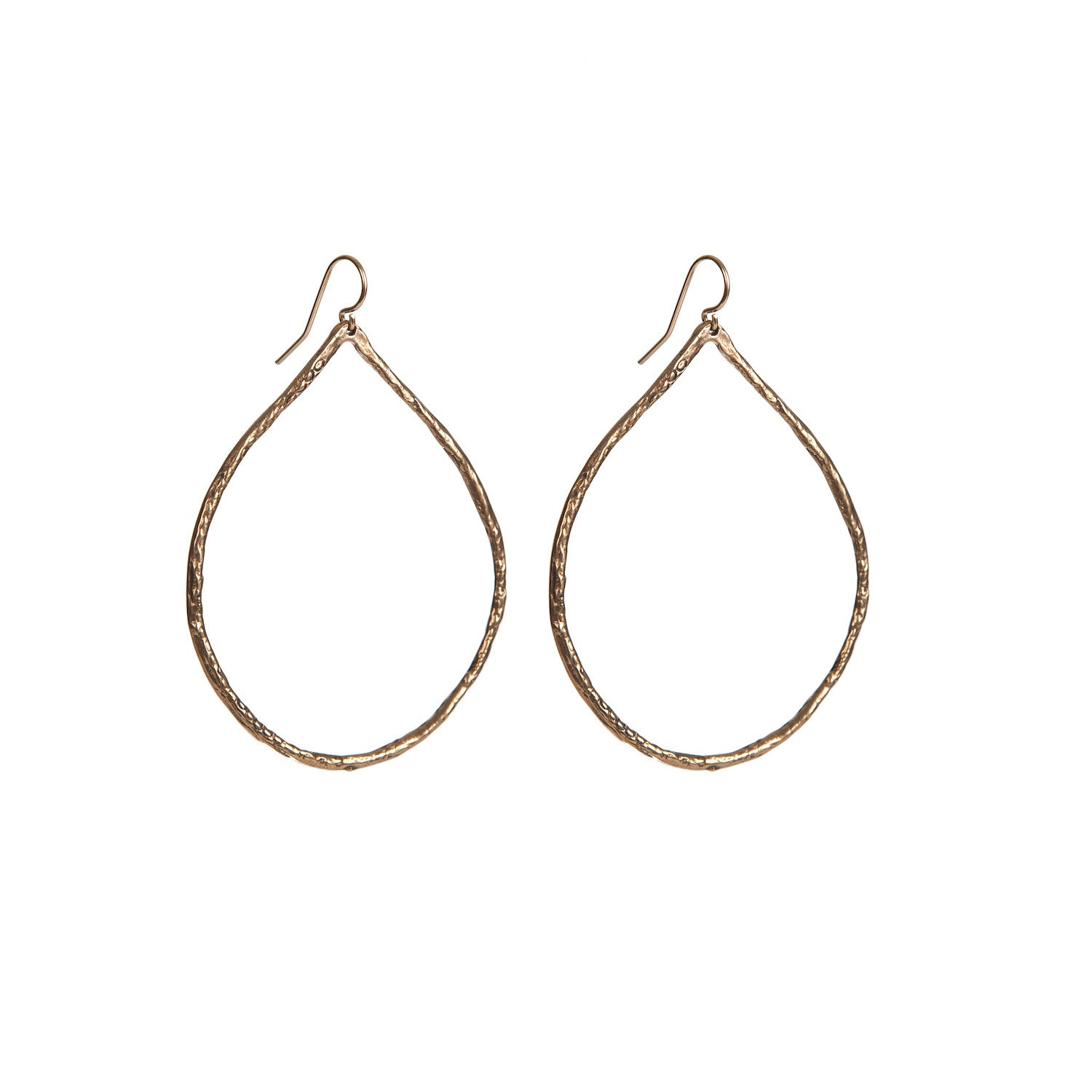 BRONZE TEARDROP HOOP EARRINGS