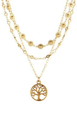 GOLD MULTI-STRAND TREE OF LIFE NECKLACE