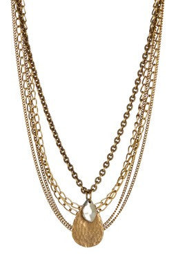 MULTI-CHAIN TEARDROP NECKLACE