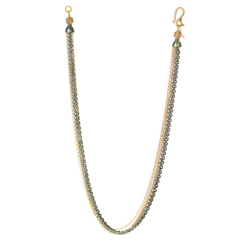 GOLD AND SWAROVSKI MULTI-CHAIN NECKLACE