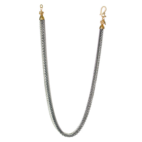 GUNMETAL AND SWAROVSKI MUTLI-CHAIN NECKLACE