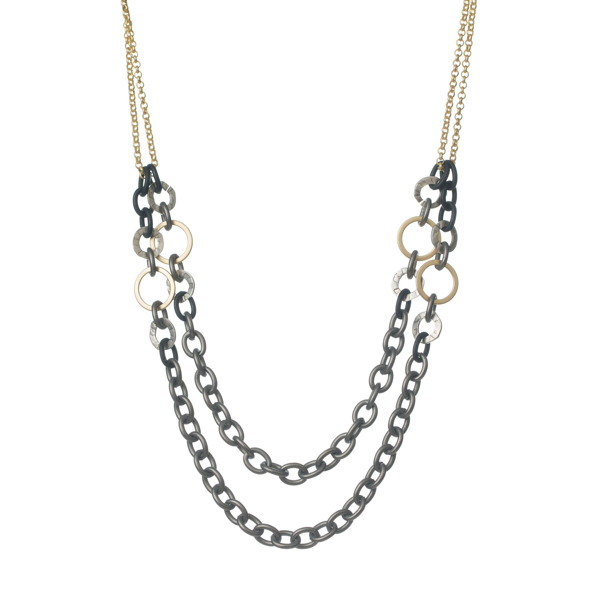 CHUNKY GUNMETAL MIXED METAL NECKLACE