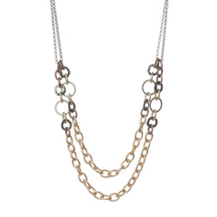 CHUNKY GOLD MIXED METAL NECKLACE