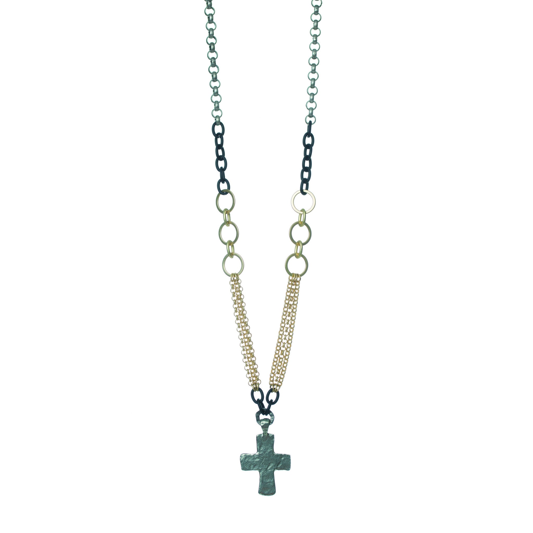 SILVER CROSS AND MIXED METAL NECKLACE