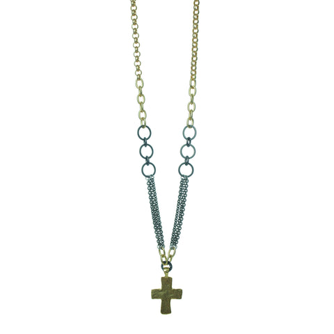GOLD CROSS AND MIXED METAL NECKLACE