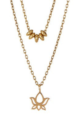 DOUBLE STRAND BRONZE LOTUS NECKLACE