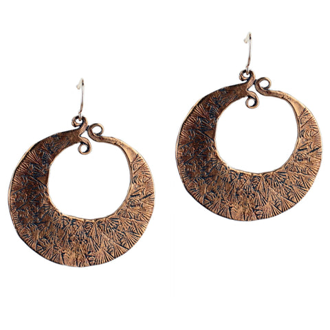 Detailed Bronze Hoop Earrings