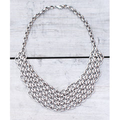 ANTIQUE SILVER CHAIN MAILLE BIB NECKLACE