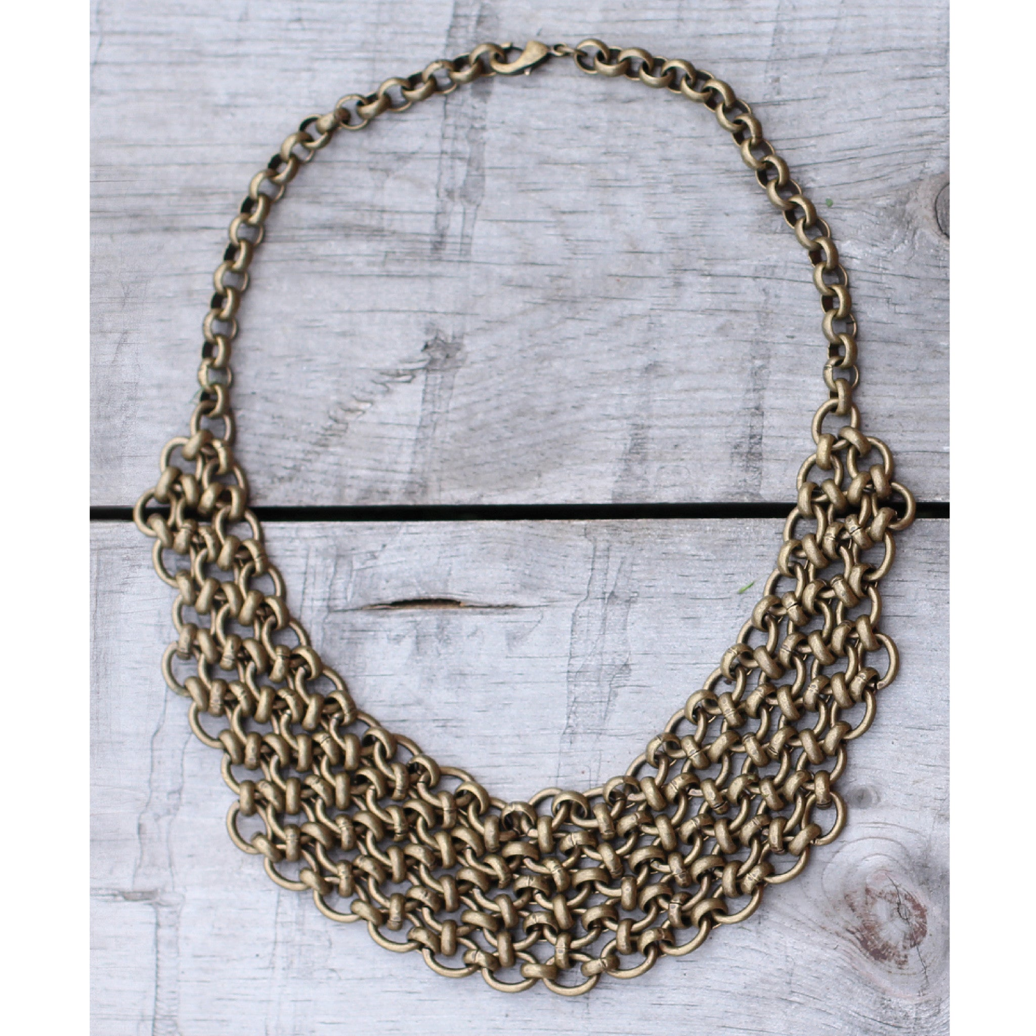 ANTIQUE BRASS CHAIN MAILLE BIB NECKLACE