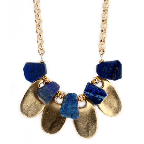GOLD AND LAPIS COLLAR NECKLACE