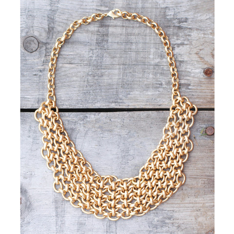 GOLD CHAIN MAILLE BIB NECKLACE