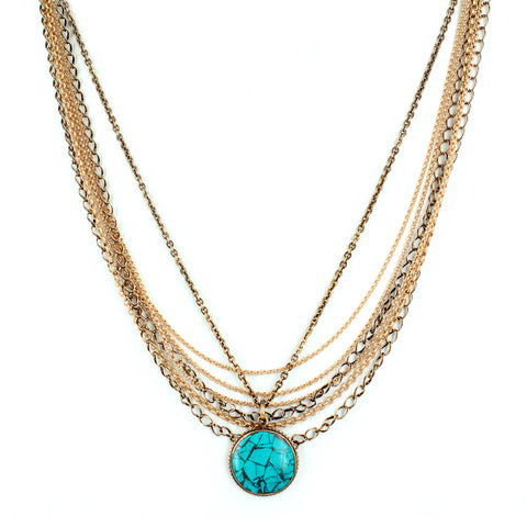 TIBETAN TURQUOISE MULTI-CHAIN NECKLACE