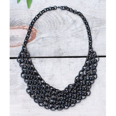 BLACK CHAIN MAILLE BIB NECKLACE