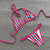 Halter Striped Three-piece Thong Bikini
