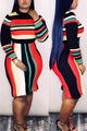 Casual Striped Multicolor Midi Dress