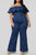 Stylish Ruffle Deep Blue Plus Size Jumpsuit