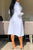 Sweet Buttons Design White Shirt Midi Dress (Without Belt)