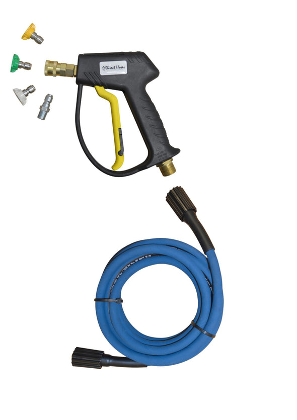 Karcher style 'K' series Rubber Replacement Hose and Short Trigger with Quick fit Nozzles. Machine Screwfit Connection .