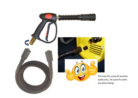 Karcher style 'K' series replacement hose and Swivel Trigger Screw Fit machine connection Rubber hose