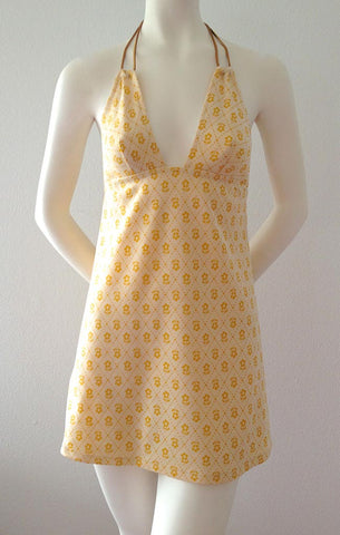 Gold Daisies Halter Dress