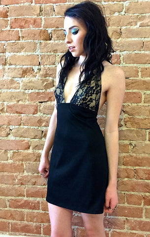 Black Illusion Lace Dress
