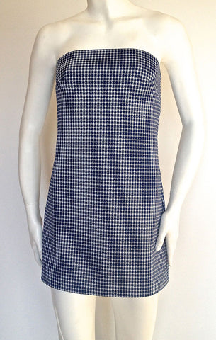 Blue Houndstooth Mini Dress