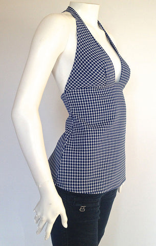 Blue Houndstooth Halter Top