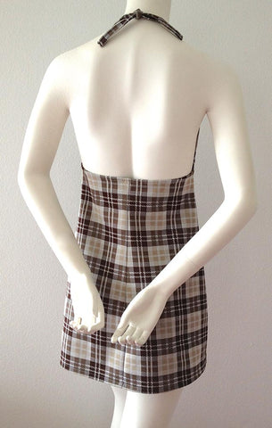 Brown Plaid Halter Dress